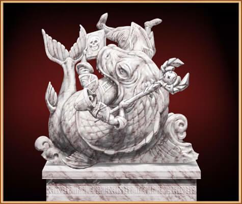 статуя в пантеоне богов на острове